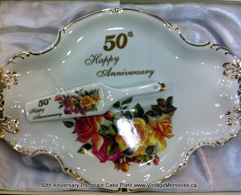 50th Aniversary Porcelain Cake Plate