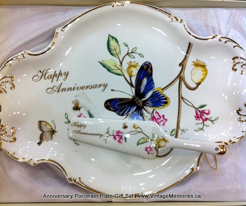 Anniversary Butterfly Porcelain Plate Gift Set
