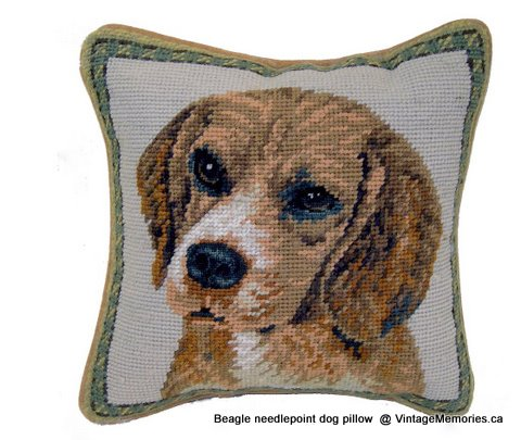 Beagle needlepoint dog pillow