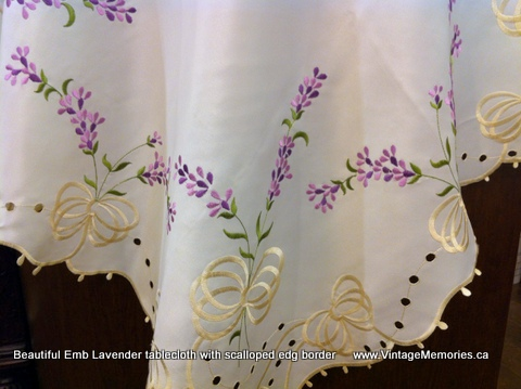 Beautiful Emb Lavender tablecloth