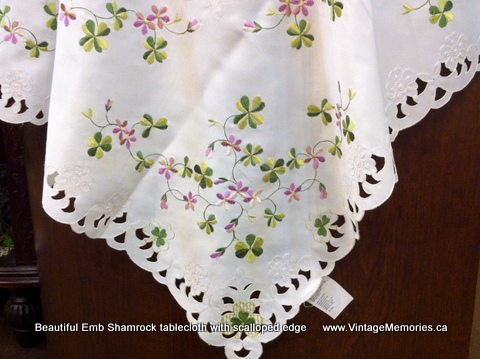 Beautiful Emb Shamrock tablecloth with scalloped edge