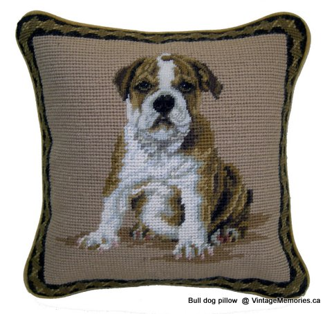 Bull dog needlepoint pillow