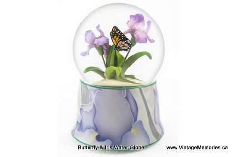 Butterfly and Iris Water Globe