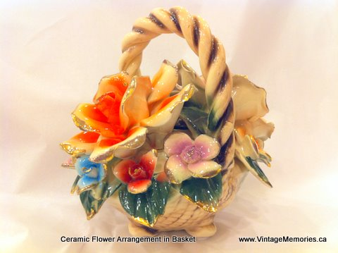 Ceramic Flower Arrangement in Basket