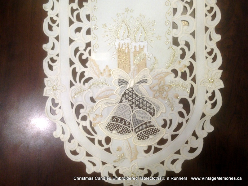 Christmas Candles Embroidered Tablecloths n Runner