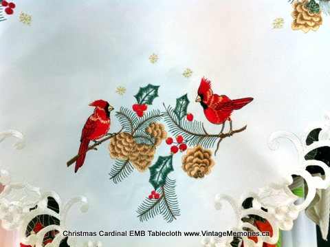 Christmas Cardinal EMB Tablecloth