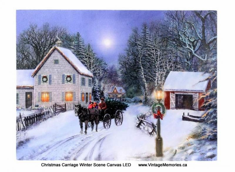 Christmas Carriage Winter Scene Canvas LED