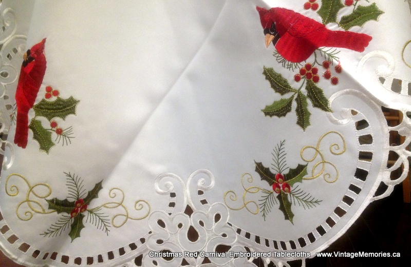 Christmas Red Carnival Embroidered Tablecloths
