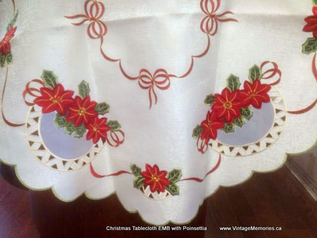 Christmas Tablecloth EMB with Poinsettia