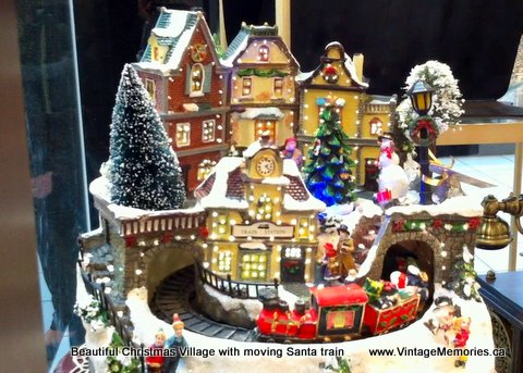 Christmas village Santa train
