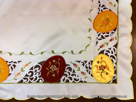 Easter Eggs Embroidered Table cloth