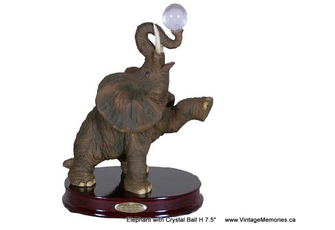 Elephant with Crystal Ball H 7.5""