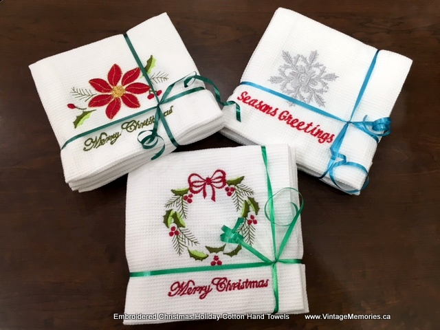 Embroidered Christmas Holiday Cotton Hand Towels