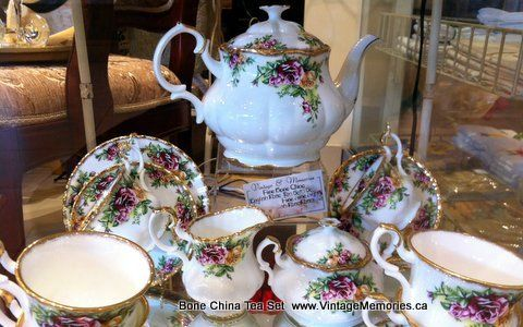 English rose bone china tea set