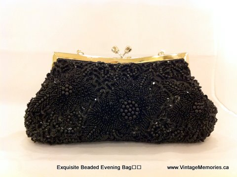 Exquisite Beaded Evening Bag blk