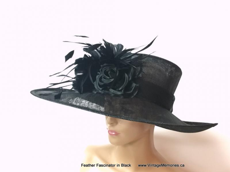 Feather Fascinator in Black 2
