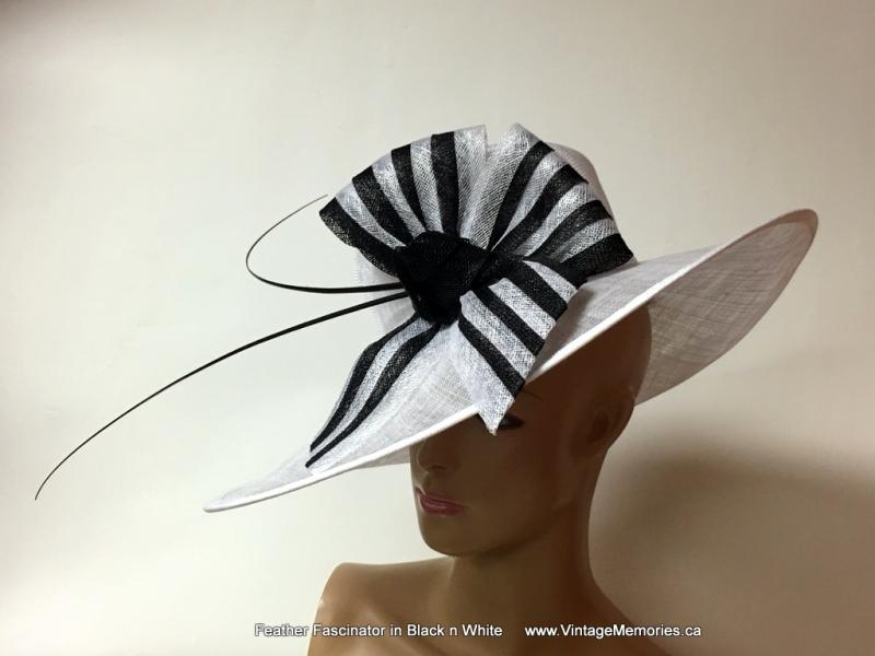 Feather Fascinator in Black n White