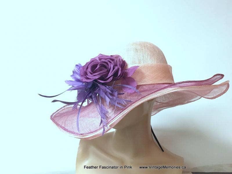 Feather Fascinator in Pink 2