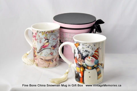 Fine Bone China Snowman Mug in Gift Box