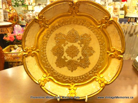 Italian Florentine Wooden Tray gold