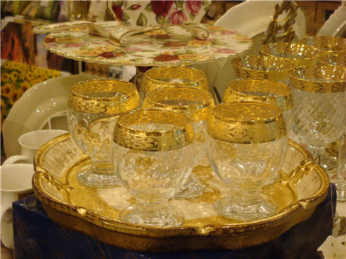 Golden Brandy Glass -Italian