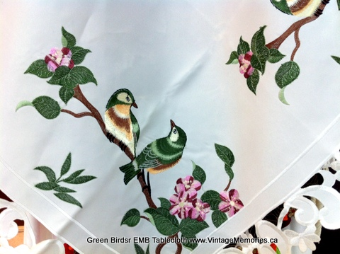 Green Birdsr EMB Tablecloth