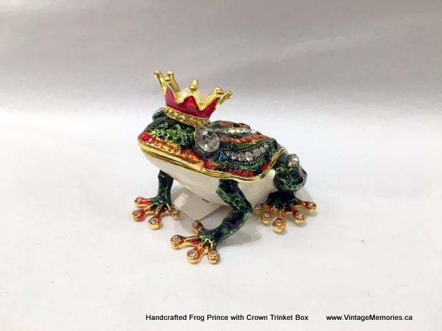 Handcrafted Frog Prince with Crown Trinket Box