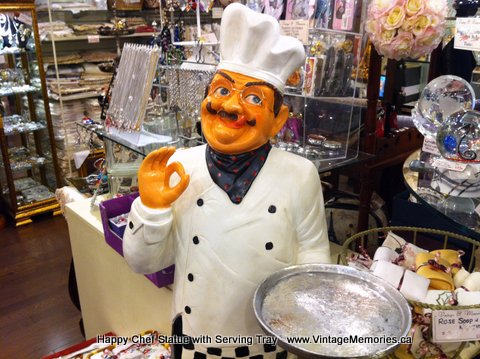 Happy Chef Statue with Serving Tray