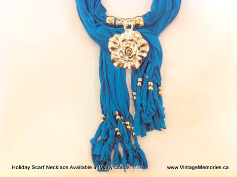 Holiday Scarf Necklace Available in Many Colors