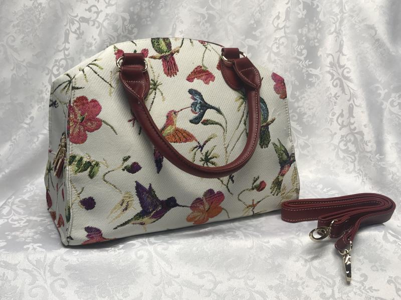 Tapestry bag with hummingbirds