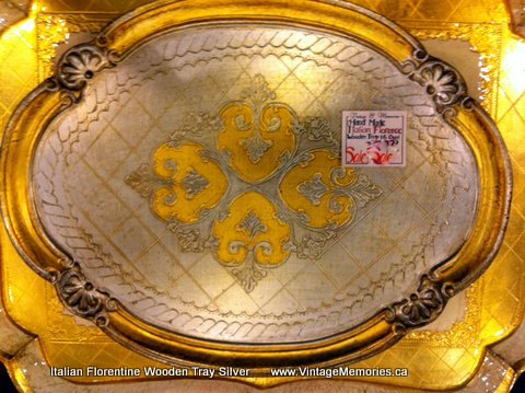 Italian Florentine Wooden Tray with gold and silver