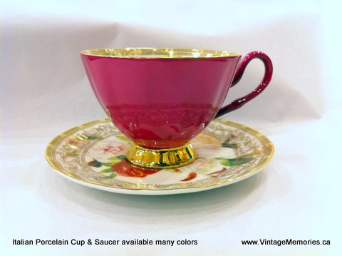 Italian Porcelain Cup Saucer many color