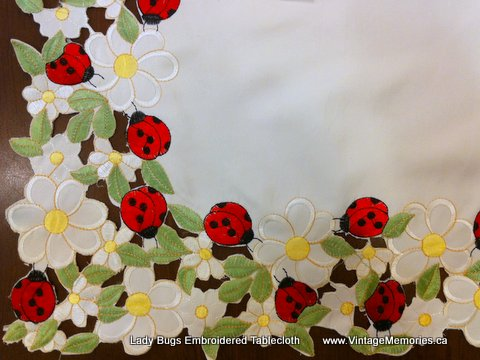 Lady Bugs Embroidered Tablecloth