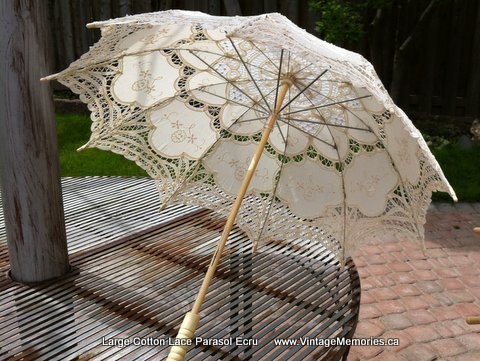 Large Cotton Lace Parasol Ecru