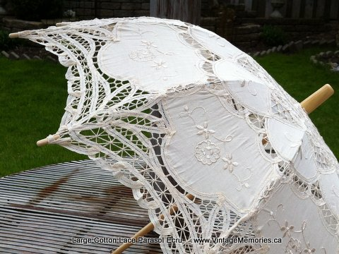 Large Cotton Lace Wedding Parasol ecru