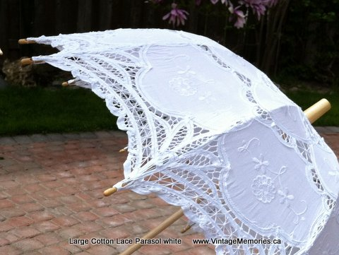 Large Cotton Lace wedding Parasol white