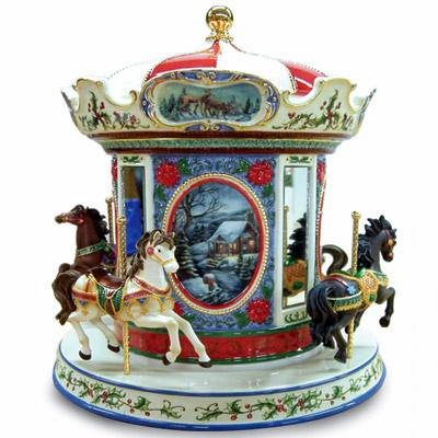 Large Musical Carousel Cookie Jar