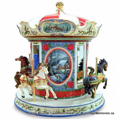 Large Musical Carousel Cookie Jar -