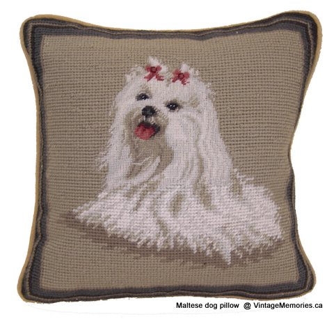 Maltese dog pillow