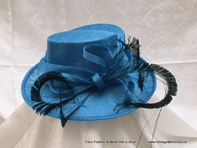Faux Feather & Mesh Hat in Blue