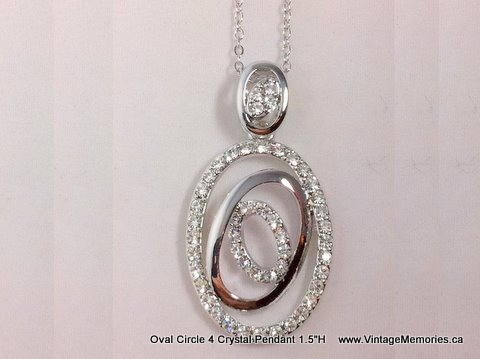 Oval Circle 4 Crystal Pendant