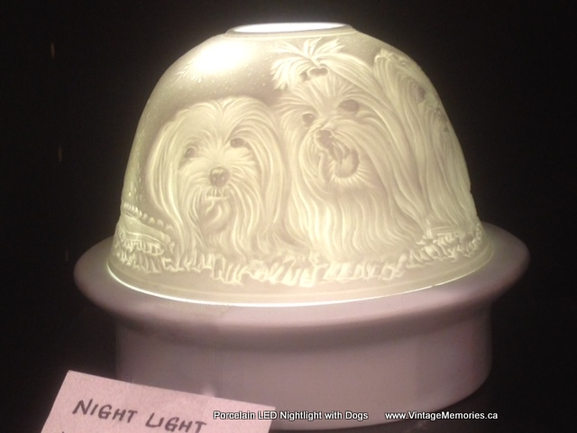 Porcelain LED Nightlight with dogs