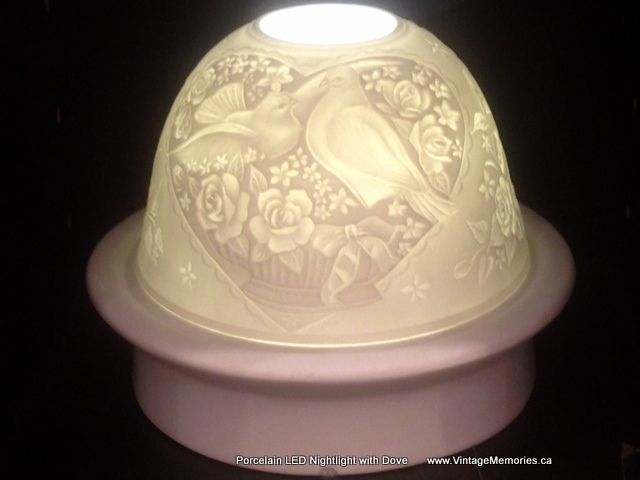 Porcelain LED Nightlight with winter dove