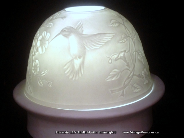 Porcelain LED Nightlight with hummingbirds