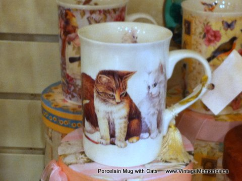 Porcelain Mug with Cats