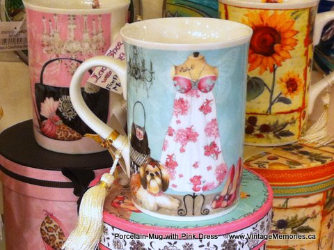 Porcelain Mug with Pink Dress