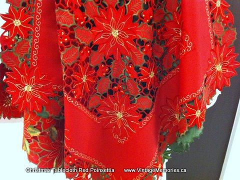 Red Poinsettia tablecloth