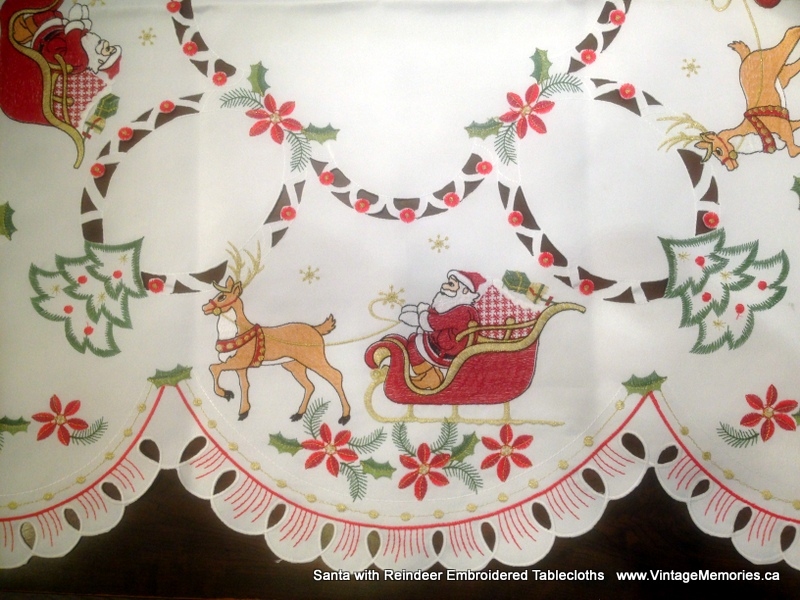 Santa with Reindeer Embroidered Tablecloths