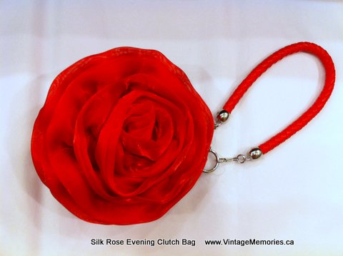 Silk Rose Evening Clutch Bag