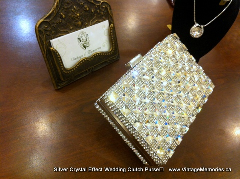 Silver Crystal Wedding Clutch.